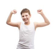 Happy young boy in a sleeveless shirt Royalty Free Stock Photography