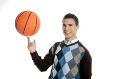 Happy young boy student with basketball ball. Isolated on white Stock Images