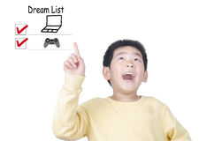 Happy young boy thinking dream list Stock Image
