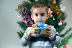 Happy young boy with you christmas gift under the tree at home Royalty Free Stock Images