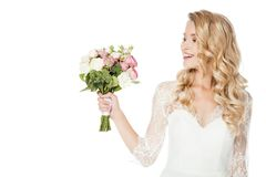 happy young bride with bridal bouquet stock images