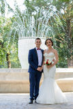Happy young bride and groom Royalty Free Stock Photo