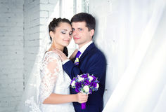 Happy young  bride and groom Royalty Free Stock Image