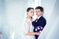 Happy young  bride and groom Stock Images