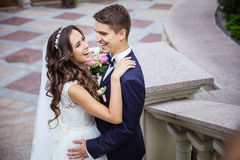 Happy young bride and groom Royalty Free Stock Photos