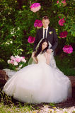 Happy young bride and groom in a pink decorated with peonies area in nature, family, relationships, romance, smiles, hugs, love, l Royalty Free Stock Photos