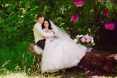Happy young bride and groom in a pink decorated with peonies area in nature, family, relationships, romance, smiles, hugs, love, l Stock Photos