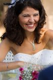 Happy young bride laughing Stock Photo