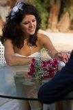 Happy young bride smiling Royalty Free Stock Photography