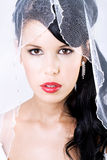 Happy young bride with veil and red lips Stock Photo