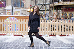 Happy young brown haired woman on the background of a winter amu Stock Image