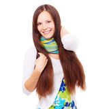 Happy young brunette Stock Photos