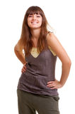 Happy young brunette with beautiful smile Stock Photography