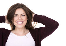 Happy young brunette Royalty Free Stock Image