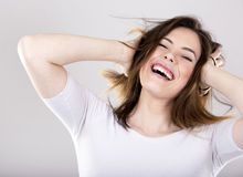 Happy young brunette Royalty Free Stock Images