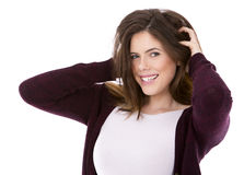 Happy young brunette Royalty Free Stock Photos
