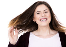 Happy young brunette Stock Image