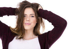 Happy young brunette Royalty Free Stock Photo