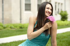 Happy Young Brunette Girl Stock Photo