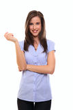 Happy young brunette woman Stock Images