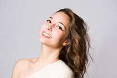 Happy young brunette woman Royalty Free Stock Images