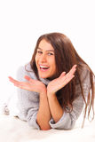 Happy young brunette woman Stock Image