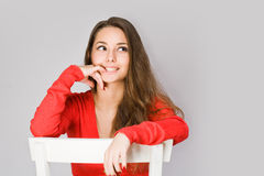 Happy young brunette woman. Royalty Free Stock Images