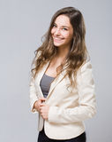 Happy young brunette woman. Gorgeous relaxed happy elegant young brunette woman Royalty Free Stock Images
