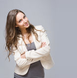 Happy young brunette woman. stock image