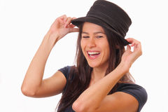 Happy young brunette woman in a hat Royalty Free Stock Photos