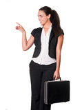Happy young business lady with briefcase Stock Images