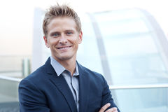 Happy young business man Royalty Free Stock Images