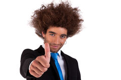 happy and young  business man, with thumb up Stock Photo