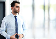 Happy young business man work in office Stock Photos