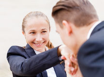 Happy young business people Stock Photo