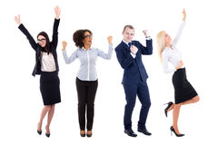 Happy young business people celebrating something isolated on wh. Ite background Royalty Free Stock Photo