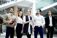 Young business people looking up in new office stock image