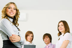 Happy young business team. Royalty Free Stock Image