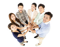 Happy young business team with unity gesture Stock Photography