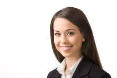 Happy young business woman. Modern portrait of a successful young professional business woman Royalty Free Stock Image