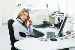 Happy young business woman Royalty Free Stock Image