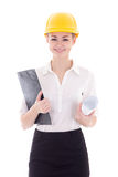 Happy young business woman architect in builder helmet isolated Stock Images