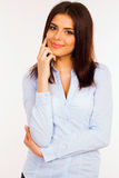 Happy young business woman in blue shirt Stock Photo
