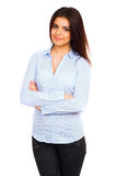 Happy young business woman in blue shirt Stock Photos