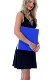 Happy Young Business Woman Carrying a Blue Office Box File Royalty Free Stock Photo