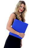 Happy Young Business Woman Carrying a Blue Office Box File Stock Photo