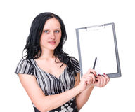 Happy Young Business Woman Holding Blank Placard. Royalty Free Stock Image