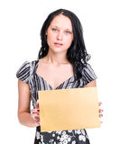 Happy Young Business Woman Holding Blank Placard. Stock Images