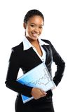 A happy young business woman holding a clipboard Stock Photos