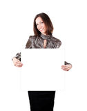 Happy young business woman holding empty board Stock Images